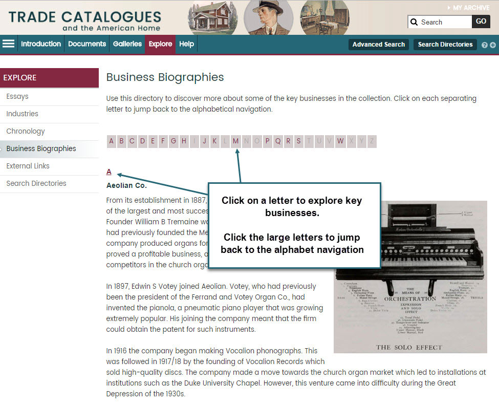 Screenshot showing how to use the Business Biographies page. Use the alphabet links at the top to jump to businesses beginning with that letter. Clicking the large letter at the beginning of each section will jump you back to the top.