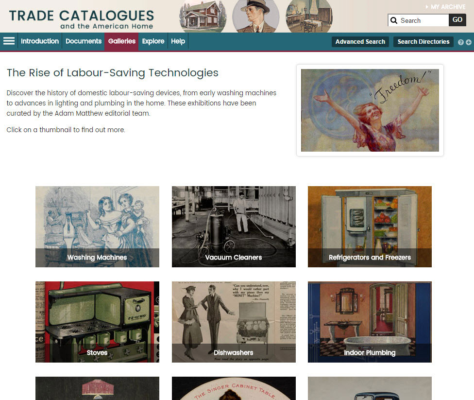 Screenshot of the 'Online Exhibition' landing page, showing thumbnails for all appliances featured.